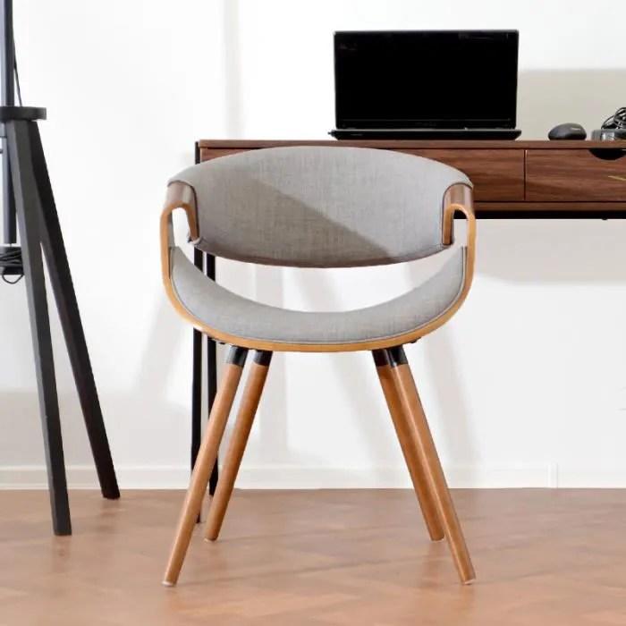 chaise design chaise moderne bent 56 cm noyer gris pietement en bois revetus d une mousse style contemporain