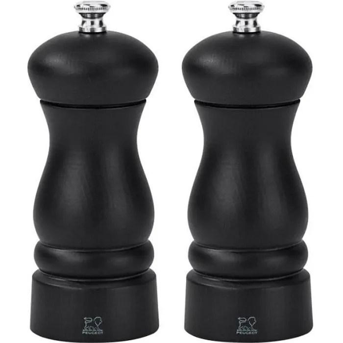 peugeot clermont duo moulins poivre et sel bois noir 13 cm noir