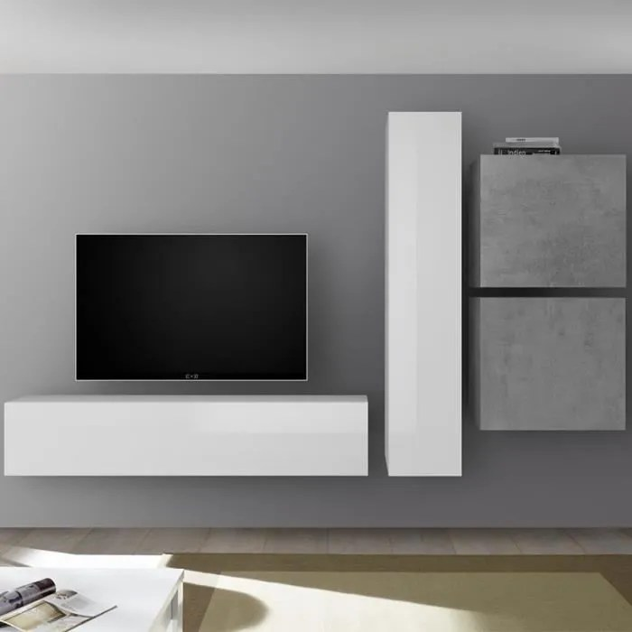 grand meuble tv blanc laque et gris beton punta gr