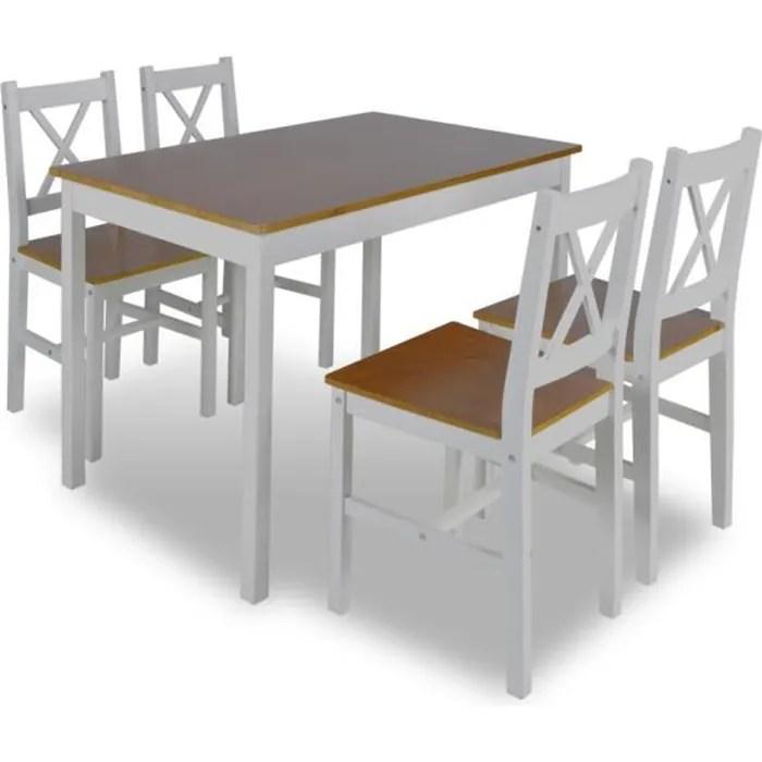 set table cuisine avec 4 chaise en bois marron meubles