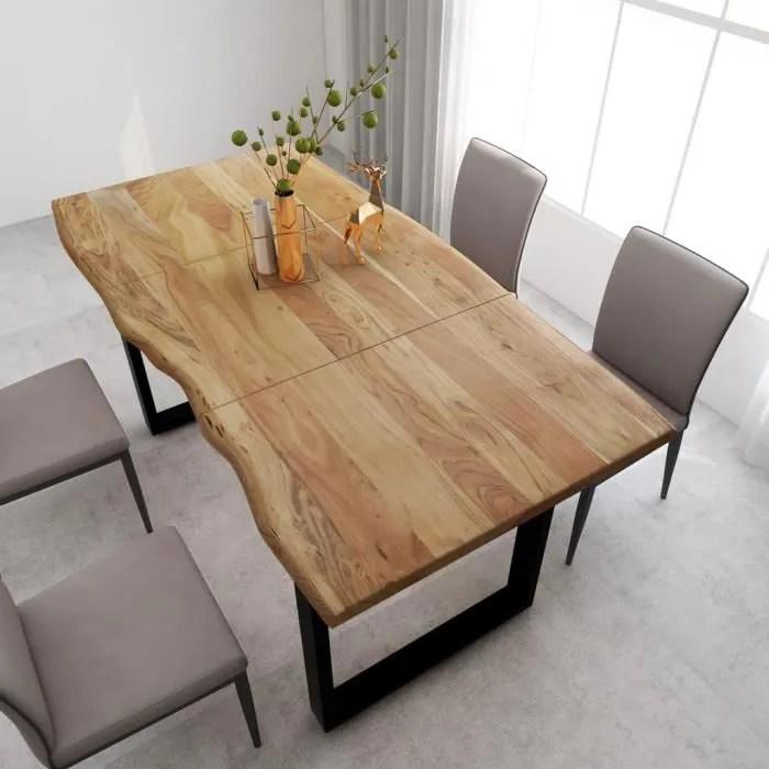 table de salle a manger 4 a 6 personnes 180x90x76 cm bois d acacia massif