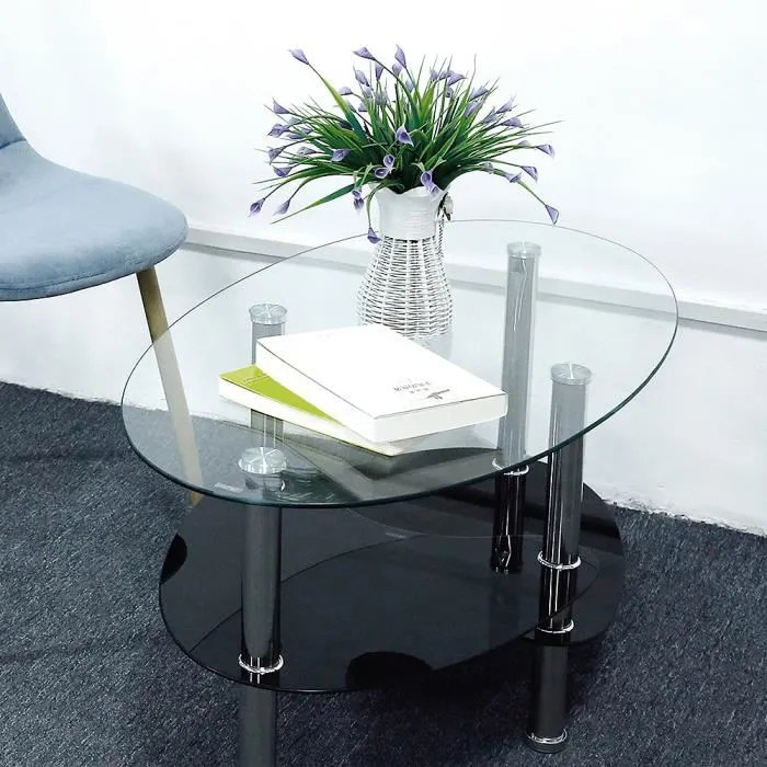laizere table de salon table basse en verre trempe transparent
