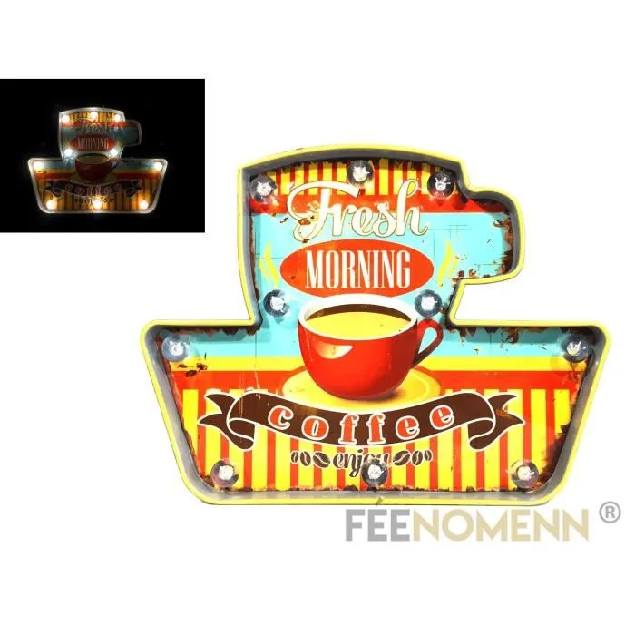 plaque metal lumineuse led deco murale vintage cafe coffee fresh morning 40x32cm