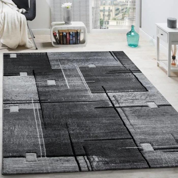 tapis chic noble moderne a contour abstrait gris n