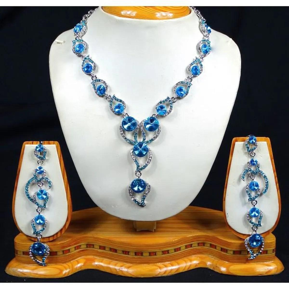parure bijoux sautoir pas cher collier bleu turquoise