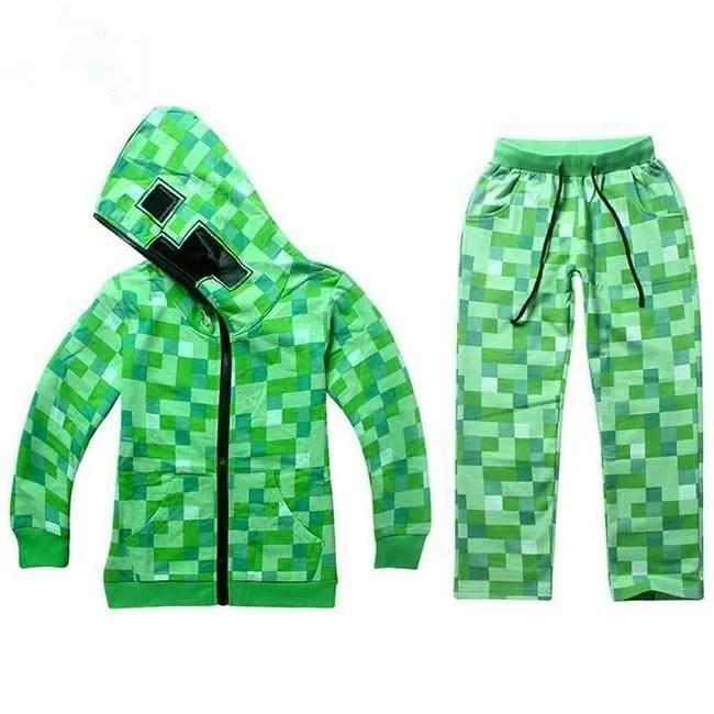 Minecraft Garcons Creeper Enfants Hoodie Youth Zip Up Manteau Pull Veste Pantalons Set Nouveau Cdiscount Bagagerie Maroquinerie