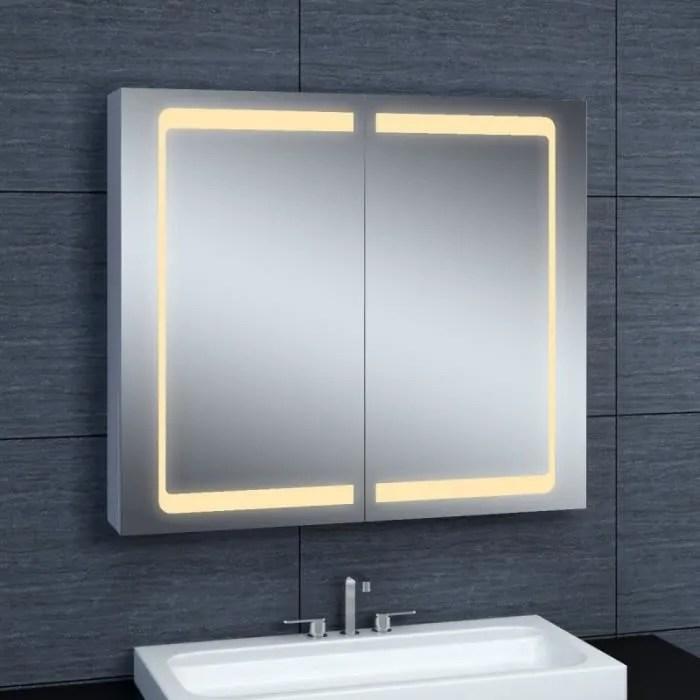 pradel armoire de toilette aluminium modele ja 70 cm x 80 cm hxl gris