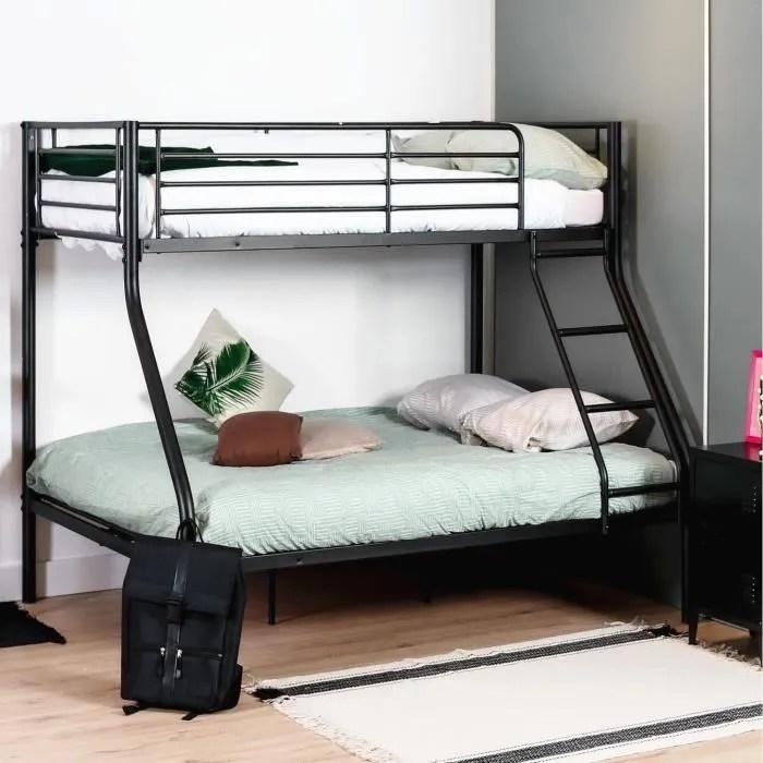 furnish1 lit superpose 1 lit deux places 140 x 190 cm et 1 lit une place 90 x 190 cm structure en metal noir matelas non inclu
