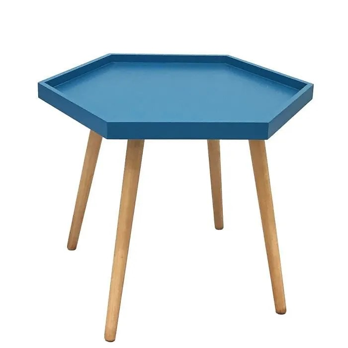 Table Basse Hexa Bleu Canard Bleu Cdiscount Maison