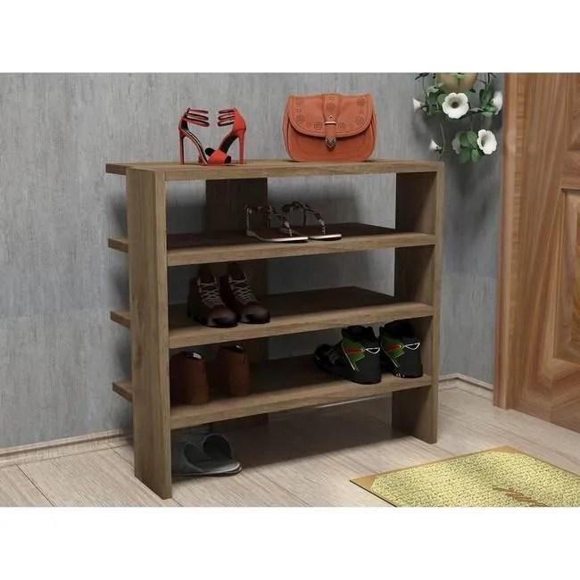 homemania meuble a chaussures mix compacte avec etageres pour entree noyer en bois 63 6 x 31 8 x 60 cm