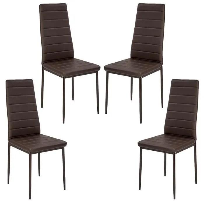 lot de 4 chaises de salle a manger marron en cuir avec haut dossier 48 42 97