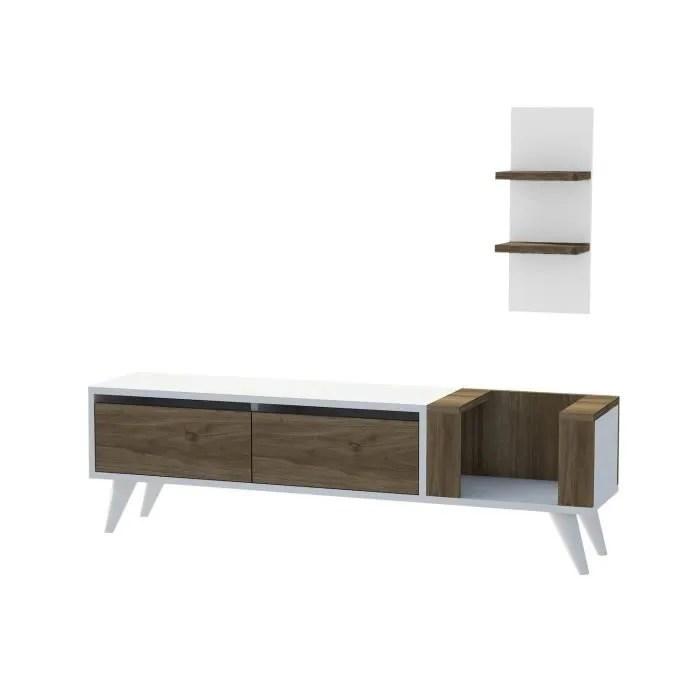 meuble tv avec etagere pers 130 x 38 cm blanc