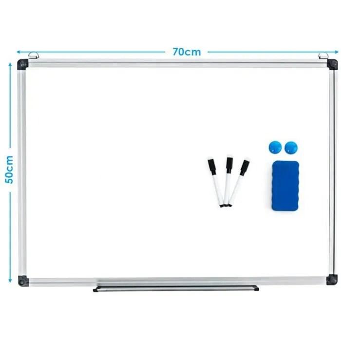 costway tableau blanc magnetique 70x50 cm effacable surface avec cadre en aluminium 2 aimants 3 stylos et effacable a sec