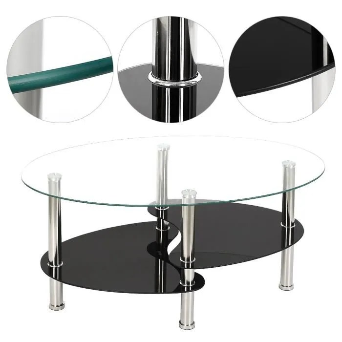 table basse en verre trempe table de salon 90 x 50 x 43 cm barcelone transparente et noir