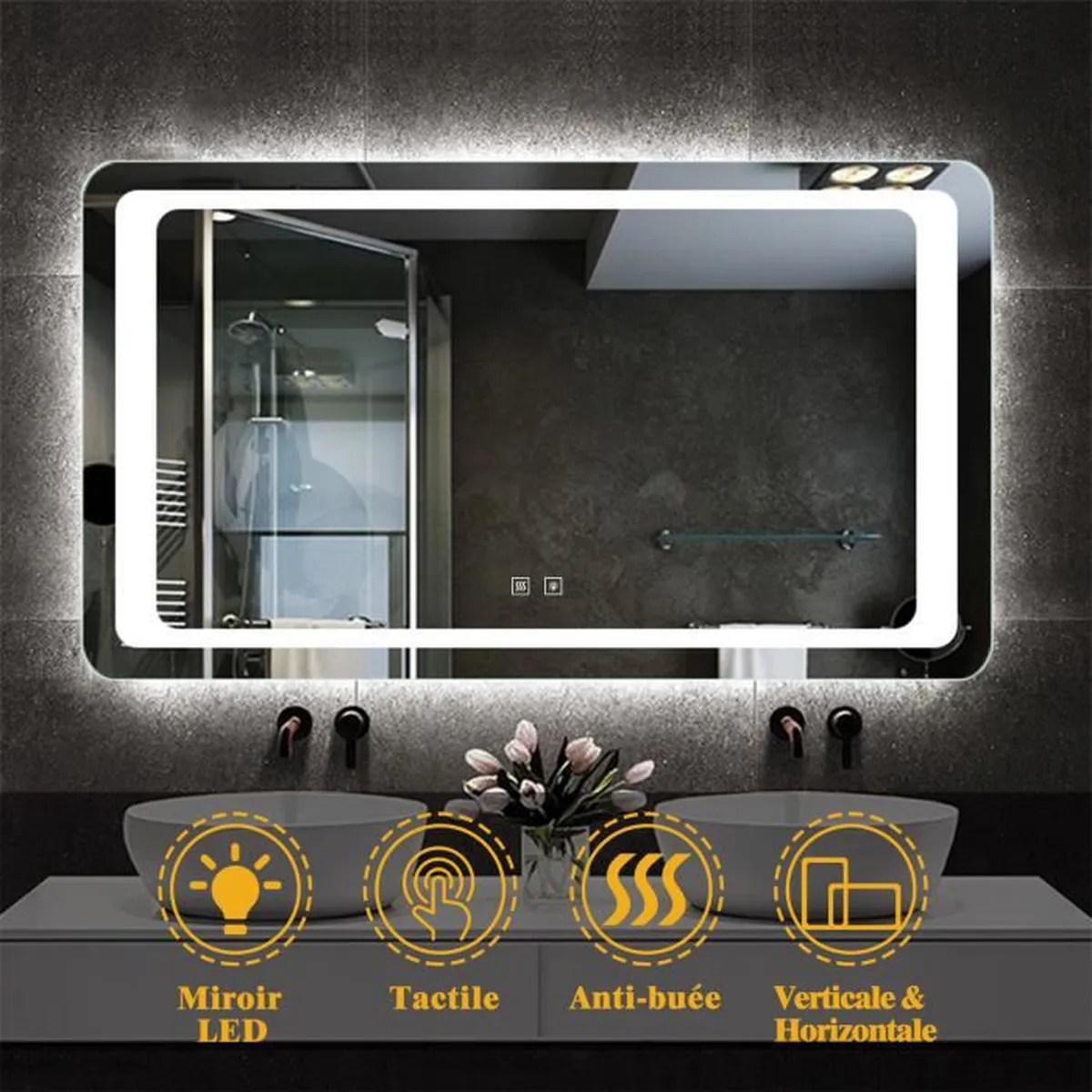 Miroir De Salle De Bain 120x70cm Anti Buee Miroir Mural Avec Eclairage Led Modele Classique Plus Achat Vente Parois De Douche Porte De Douche Miroir De Salle De Bain 120 Cdiscount
