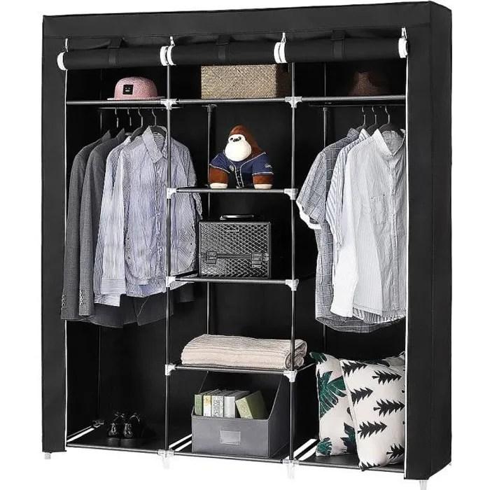 Armoire Toile Dressing Simple Penderie De Vetement Pliable Noir Cdiscount Maison