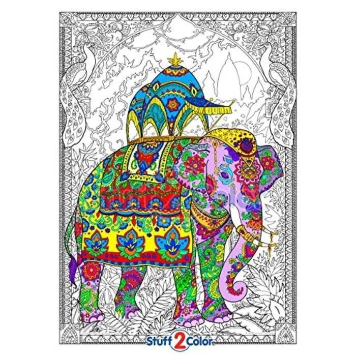Jeu De Coloriage V5ung Elephant Peint Affiche A Colorier De