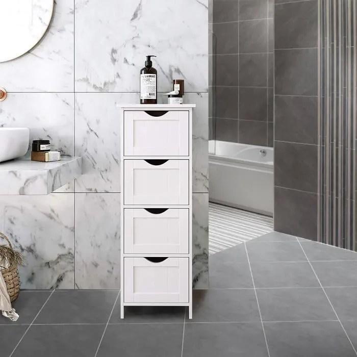 meuble bas salle de bain rangement blanche avec 4