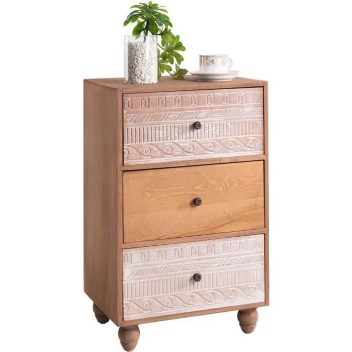 commode tilda meuble de rangement chiffonnier avec 3 tiroirs en bois de paulownia brun style vintage ethnique exotique avec gravures