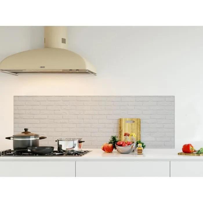 Credence De Cuisine Adhesive En Panneau Composite Aluminium Texture Brique Blanche L 150 X H 50 Cm Achat Vente Credence Credence De Cusine Texture Cdiscount