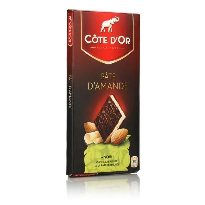 cote d or chocolat noir fourre a la pate d amande 150 g
