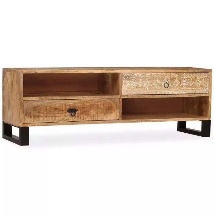 meuble tv bois massif de manguier 120 x 30 x 40 cm