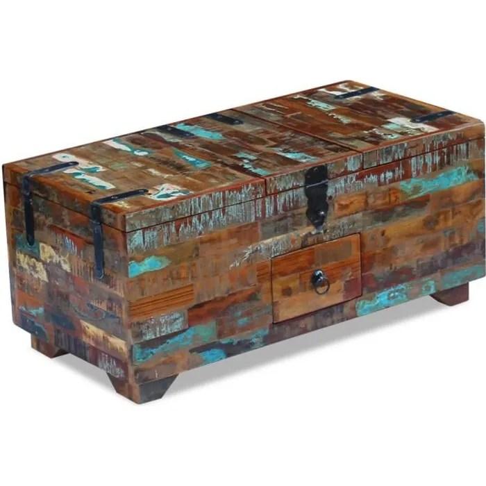 tables basses coffre table basse bois de recuperation massif 80 x 40 x 35 cm
