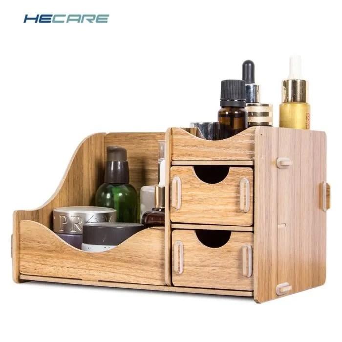 hecare boite de rangement en bois pour cosmetiques ecologique planche de bois maquillage organisateur petit bureau a type walnut