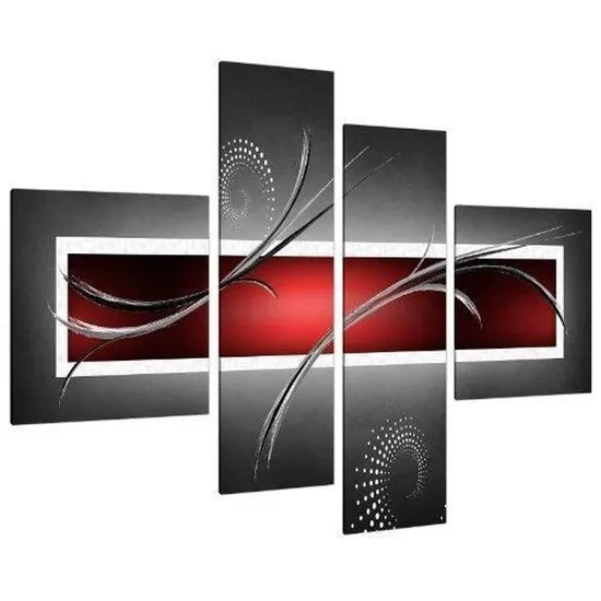 Impression Tableau Sur Toile Abstrait Rouge Noir Et Blanc Gris 4 Parties Xxl Image Moderne Contemporain 157cm X 67cm Cdiscount Maison