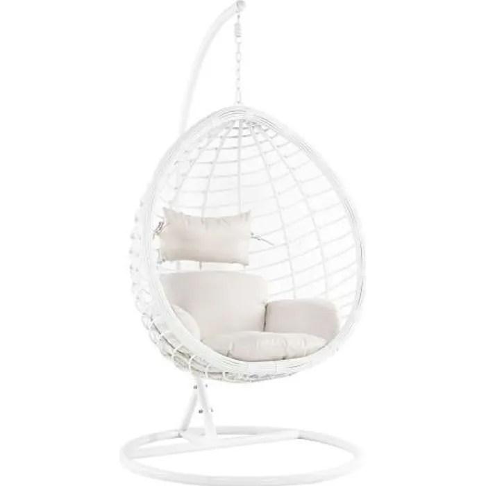 beliani fauteuil suspendu en rotin blanc avec su