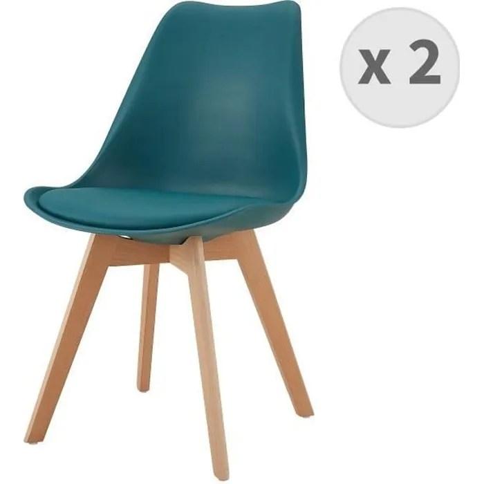 lot x2 chaises scandinaves bleu canard