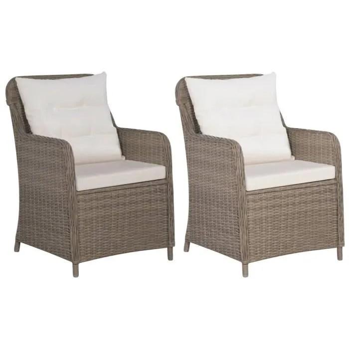 fihero fauteuil 2 pcs resine tressee marron et b