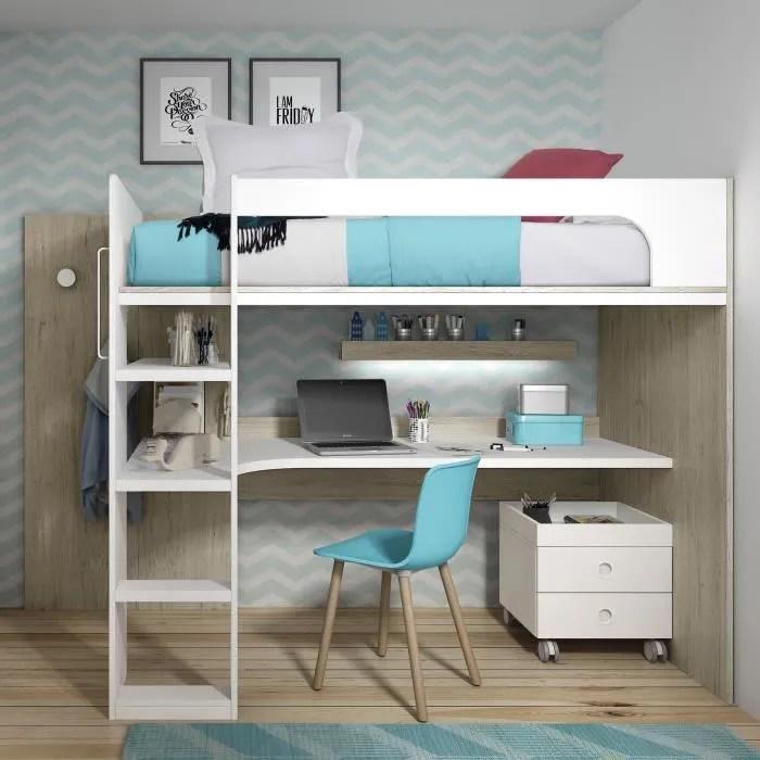 lit mezzanine avec bureau 170x200
