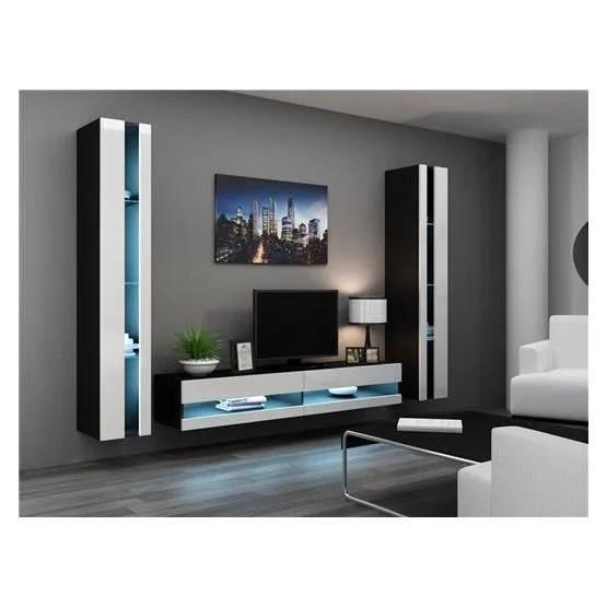 ensemble meuble tv mural olermo noir et