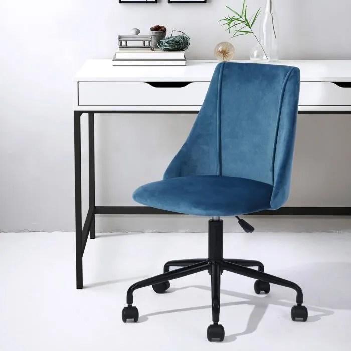 chaise de bureau velours metal bleu noir reglable pivot home office moderne tendance design ergonomique confortable