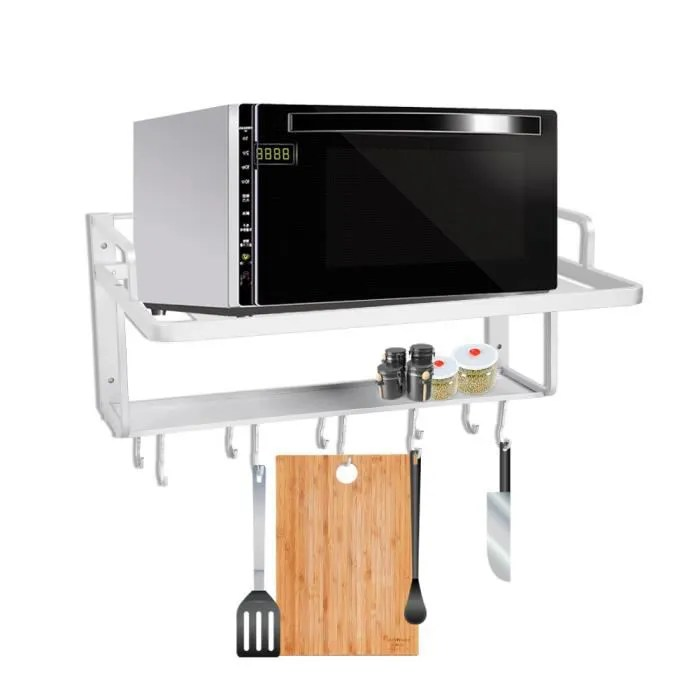 etagere murale support suspendus aluminium double couches pour four micro ondes cuisine organisateur stockage