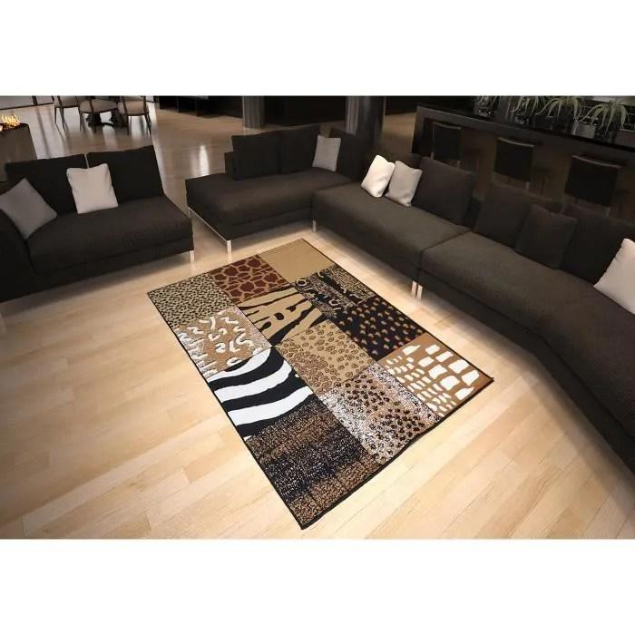 tapis salon patchwork peau de bete marron debonsol