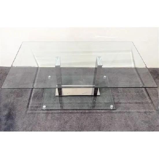 table basse verre inox
