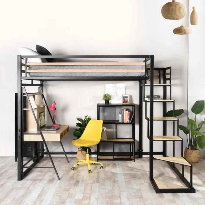 furnish1 lit mezzanine adulte avec echelle metal noir et effet transfert bois sommier a lattes matelas non inclus 140 190 cm