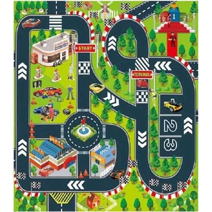 theme course automobile tapis de jeu rectangle c