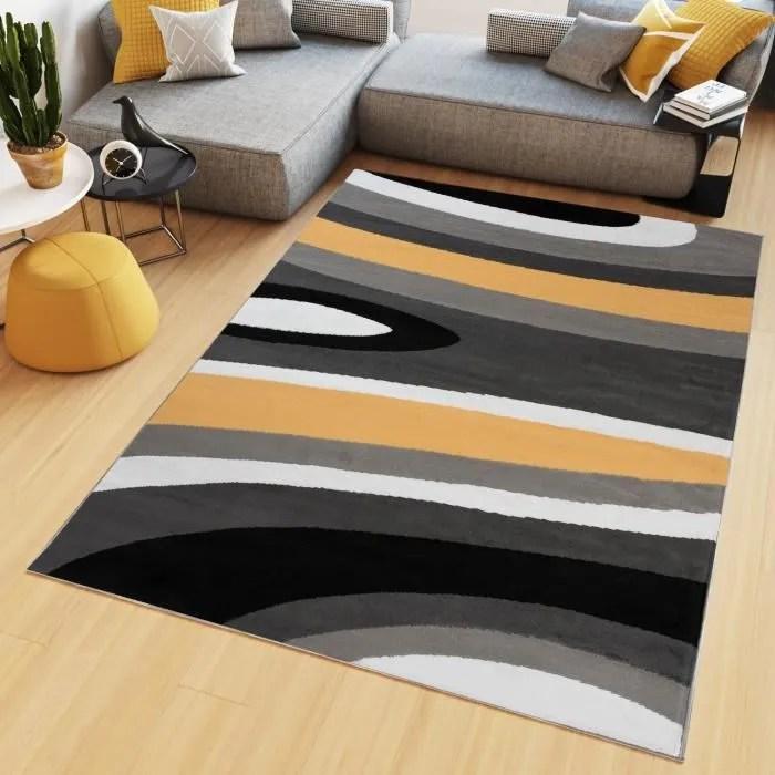 tapiso maya tapis salon chambre ado moderne geometrique ondes orange noir gris blanc fin 160 x 220 cm