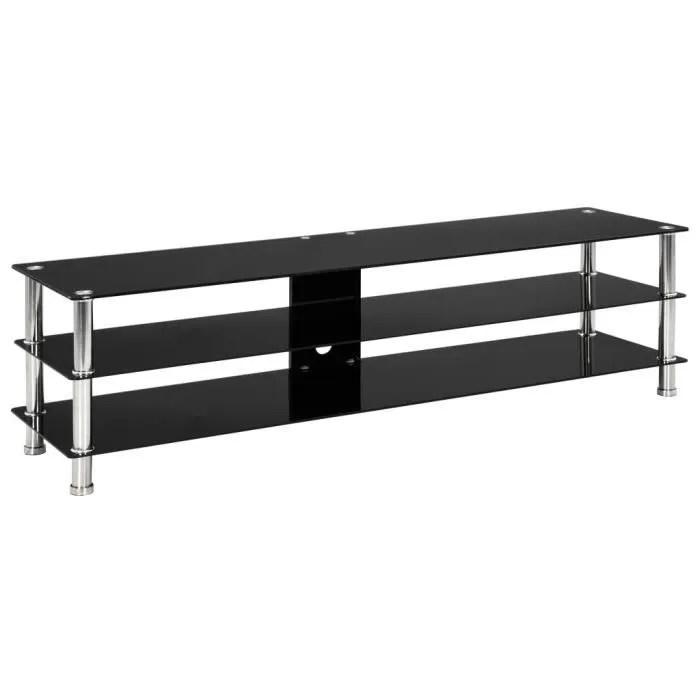 meuble hifi meuble tv noir 150 x 40 x 40 cm verre