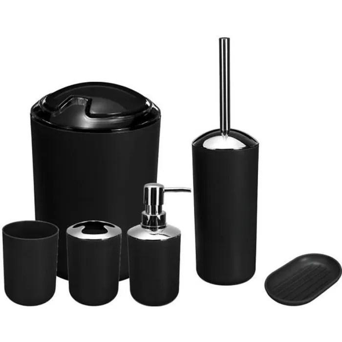 set 6pcs accessoires salle de bain creatifs noir