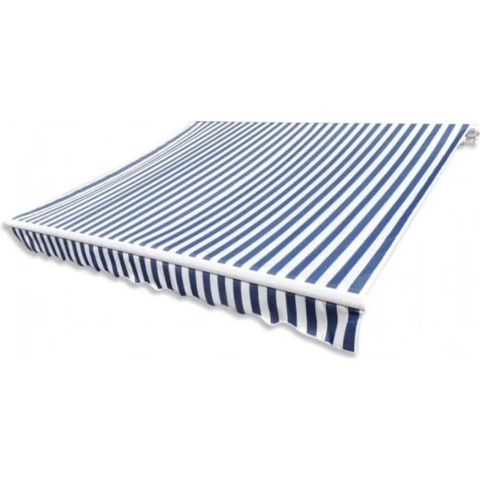 vague store banne en toile bleu et blanc 4 x 3 m