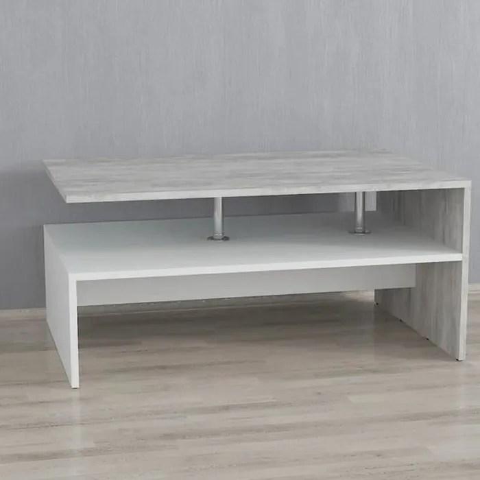 table basse blanc beton 90 cm