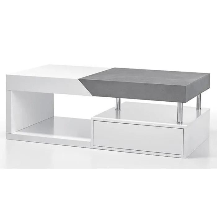 table basse modulable en chene laque blanc mat et beton l 120 x h 43 x p 60 cm