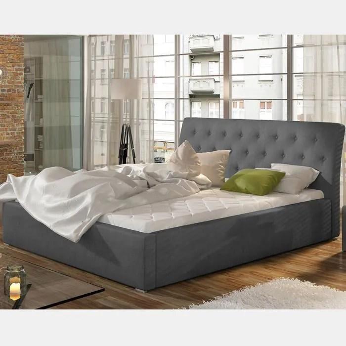 lit avec sommier 200x200 cm gris milas
