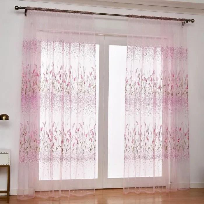 provoil rideaux voilage queue de chien fleur imprime fil tulle rideau pour decoration maison tissu rose 200 x 100 cm