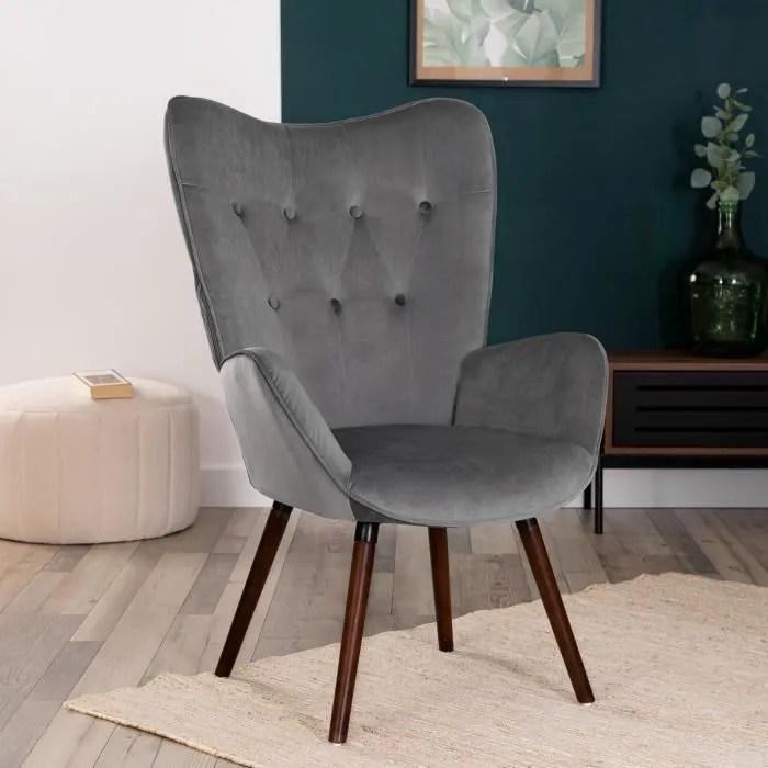 furnish1 fauteuil salon style scandinave velours gris et pieds en bois de hetre 68x73x106cm