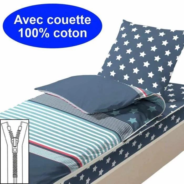 Couchage Avec Couette 90x190 Marine Achat Vente Housse De Couette Seule Cdiscount